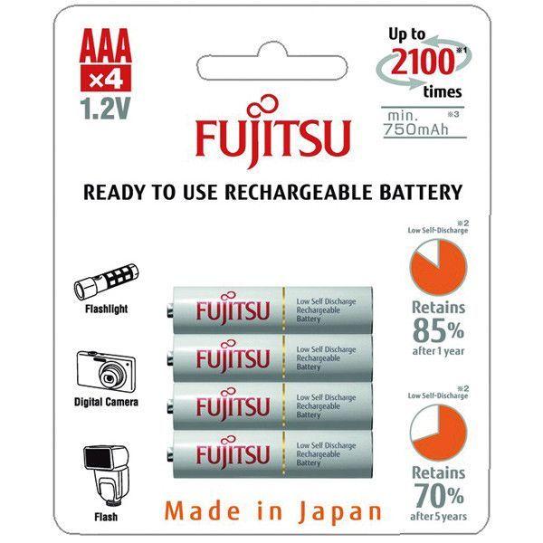 Fujitsu, Genopladelig batteri, AAA/R03, Hvid (750mA) - 4stk.