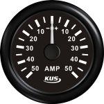 KUS, SeaV, Amperemeter, Sort, 12-24V, Ø52mm (+/- 50 Amp) - 1stk.