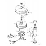 Flywheel and starter motor
