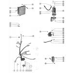 Starter motor, starter solenoid, rectifier and wiring harnes