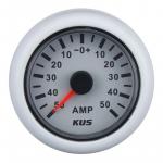 KUS, SeaV, Amperemeter, Hvid, 12-24V, Ø52mm (+/- 50 Amp) - 1stk.