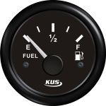 KUS, SeaK, Brændstofmåler, Sort, Ø52mm (12V,24V) - 1stk.