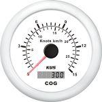 KUS, SeaQ, GPS speed (0-15), Analog, Hvid, Ø85mm - 1stk.