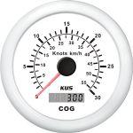 KUS, SeaQ, GPS speed (0-30), Analog, Hvid, Ø85mm - 1stk.