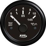 KUS, SeaQ, Olietryksmåler, Analog, Sort, Ø52mm (0-10 bar) - 1stk.