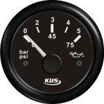 KUS, SeaQ, Olietryksmåler, Analog, Sort, Ø52mm (0-5 bar) - 1stk.