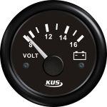 KUS, SeaV, Voltmeter, Sort, Ø52mm (8V-16V) - 1stk.