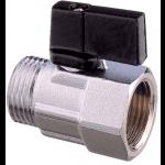 """Guidi, Mini kugleventil (Gevind udvendig/indvendig), Forniklet messing, 1/2""""x9,5mm - 1stk."""
