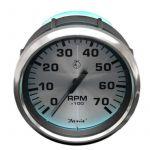 Faria, Spunsilver, Omdrejningstæller (0-7000 RPM, Outboard), Universal, Sølv, Ø85mm - 1stk.