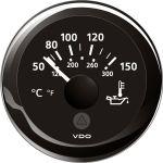 VDO, Temperaturmåler til olie, Sort (Ø52mm) - 1stk.