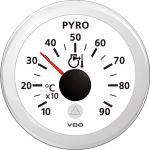 VDO, Udstødningstemperatur måler, Hvid (Ø52mm) - 1stk.